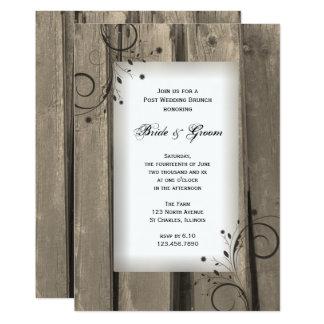 Lantligt landladugårdträ postar bröllopfrunch 12,7 x 17,8 cm inbjudningskort
