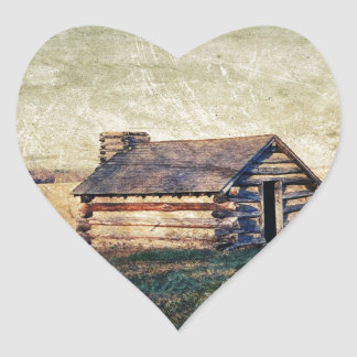 Lantligt landskap kabinen för westernt land för hjärtformat klistermärke