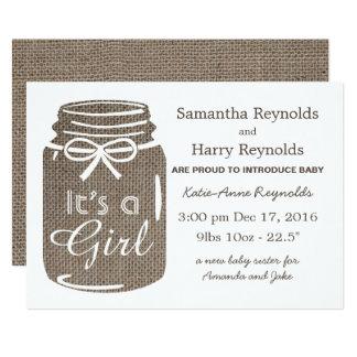 Lantligt meddelande för flicka för nyfödd bebis 12,7 x 17,8 cm inbjudningskort