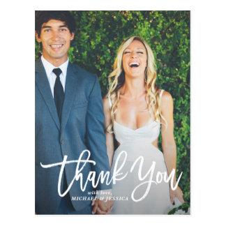 Lantligt räcka tack för bokstäverfotobröllop vykort