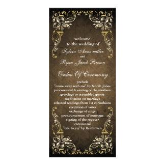 Lantligt Regal dekorativt brunt- och guldbröllop Reklamkort