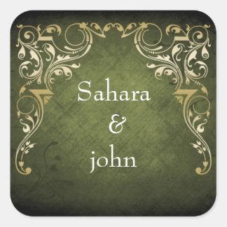Lantligt Regal dekorativt grönt- och guldbröllop Fyrkantigt Klistermärke
