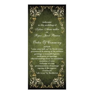 Lantligt Regal dekorativt grönt- och guldbröllop Reklamkort
