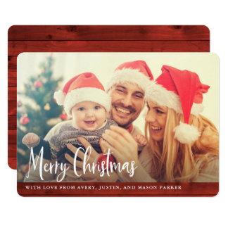 Lantligt rött god julfoto för trä | 12,7 x 17,8 cm inbjudningskort