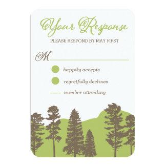 Lantligt skogsmarkberg och trädOSA kort 8,9 X 12,7 Cm Inbjudningskort