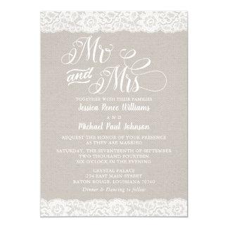 Lantligt snörebröllop 12,7 x 17,8 cm inbjudningskort