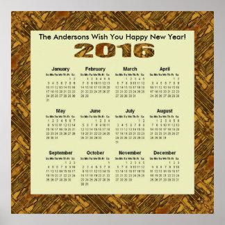Lantligt solbränt trä 2016 årliga kalender poster