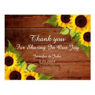 Lantligt solrossnörebröllop tackar dig vykortet vykort