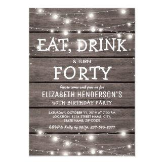 Lantligt stränga 40th för födelsedagsfest   för 12,7 x 17,8 cm inbjudningskort