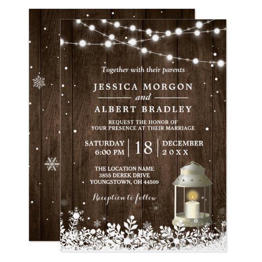 8b5c98ba272b Lantligt stränga bröllop för vintern för 12,7 x 17,8 cm inbjudningskort