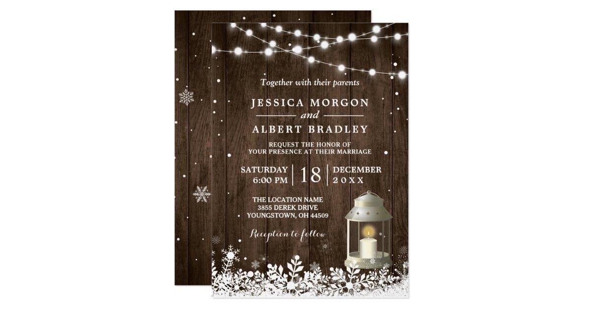 9029dad4238e Lantligt stränga bröllop för vintern för 12,7 x 17,8 cm inbjudningskort |  Zazzle.se