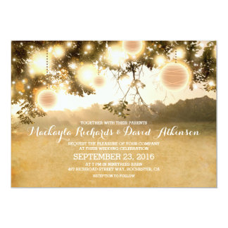 Lantligt stränga den romantiska bröllopinbjudan 12,7 x 17,8 cm inbjudningskort