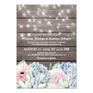 Lantligt stränga suckulent blom- bröllop för ljus 12,7 x 17,8 cm inbjudningskort