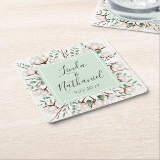 Lantligt sydligt bröllop för bomulls- & underlägg papper kvadrat