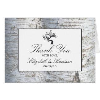Lantligt tack för bröllop för silverbjörkträd OBS kort