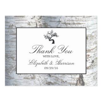 Lantligt tack för bröllop för silverbjörkträd vykort