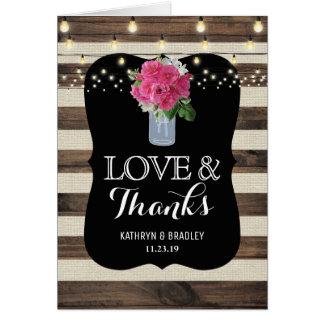 Lantligt tack för Masonburkbröllop OBS Kort