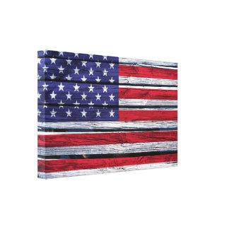 Lantligt trä för amerikanska flaggan canvastryck