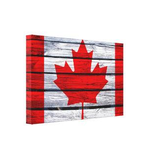 Lantligt trä för kanadensisk flagga canvastryck