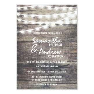 Lantligt trä och stränger att gifta sig för ljus 12,7 x 17,8 cm inbjudningskort