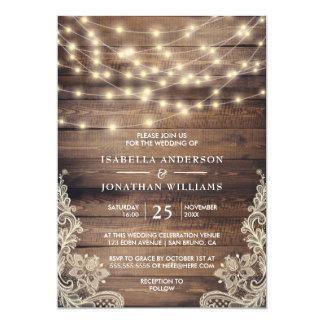 Lantligt trä & stränger för vintagesnöre för ljus 12,7 x 17,8 cm inbjudningskort