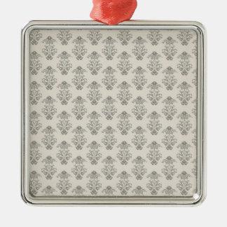 Lantligt tryck för grå damastast vintage julgransprydnad metall