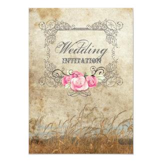 lantligt utomhus- bröllop för westernt land 12,7 x 17,8 cm inbjudningskort