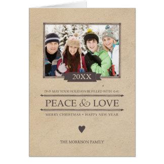 Lantligt vikt kort för fred- & kärlekjul foto