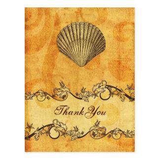 lantligt vintage, snäckskalstrand tacka dig vykort