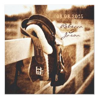 Lantligt westernt bröllop för cowboyhästsadel fyrkantigt 13,3 cm inbjudningskort