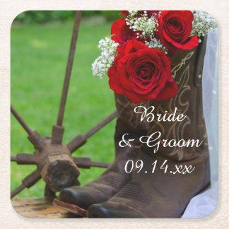 Lantligt westernt bröllop för röd ros och för underlägg papper kvadrat