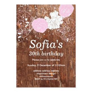 lantligt wood blom- party för inbjudankortkvinna 12,7 x 17,8 cm inbjudningskort