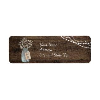 Lantligt Wood bröllop för brudslöjaMasonburk Returadress Etikett