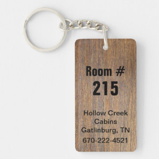 Lantligt Wood Lookhotellrum numrerar Keychain