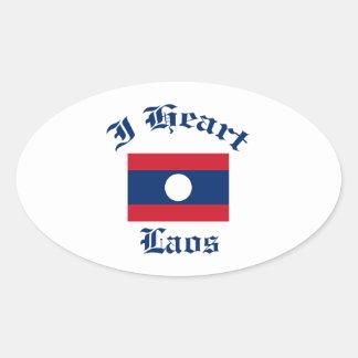 Laos design ovalt klistermärke