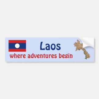 Laos flagga + Kartabildekal Bildekal