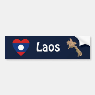 Laos flaggahjärta + Kartabildekal Bildekal