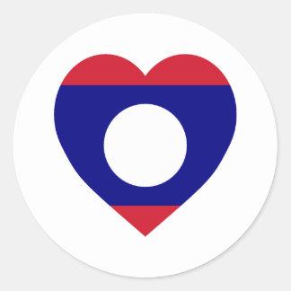 Laos flaggahjärta runt klistermärke