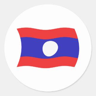 Laos flaggaklistermärke runt klistermärke