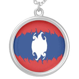 Laos Gnarly flagga Halsband Med Rund Hängsmycke