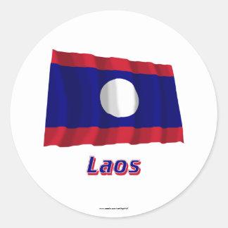 Laos som vinkar flagga med namn runt klistermärke