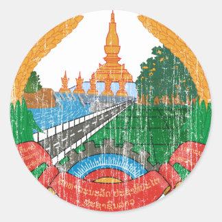 Laos vapensköld runt klistermärke