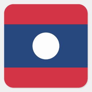 Laotian flagga fyrkantigt klistermärke