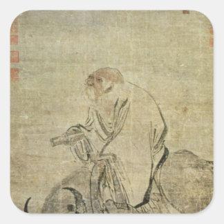 Laotisk-tzu ridning hans oxe, kines, Ming dynasti Fyrkantigt Klistermärke