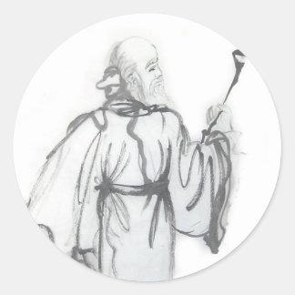 Laotiska klistermärkear för Tzu Taoistkonst Runt Klistermärke