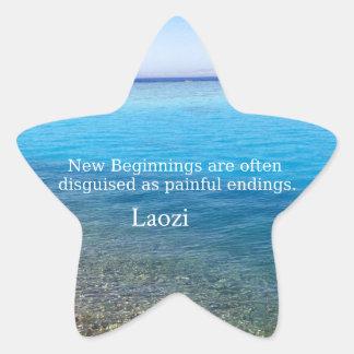 Laozi inspirera citationstecken om NYA BÖRJAN Stjärnformat Klistermärke