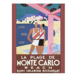 LaPlage de Monte - den carlo strandvintage resor Vykort
