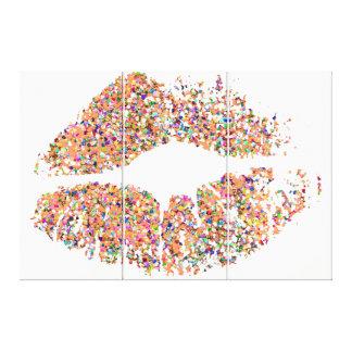 Läppar #28 för multifärgadgrusglitter canvastryck
