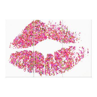 Läppar #29 för multifärgadgrusglitter canvastryck