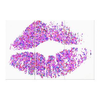 Läppar #30 för multifärgadgrusglitter canvastryck